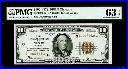 $100 1929 Federal Reserve Bank Note Chicago Fr#1890-G PMG 63 EPQ Choice UNC
