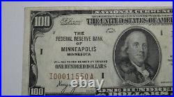$100 1929 Minneapolis Minnesota Federal Reserve National Currency Bank Note Bill