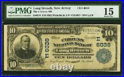 $10 1902 Long Branch New Jersey NJ National Currency Bank Note Bill Ch #6038 F15