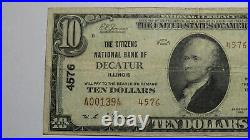 $10 1929 Decatur Illinois IL National Currency Bank Note Bill Ch. #3303 RARE