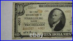 $10 1929 Harrisburg Illinois IL National Currency Bank Note Bill! Ch. #4003 RARE