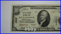 $10 1929 Littlestown Pennsylvania PA National Currency Bank Note Bill #9207 VF++