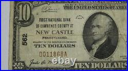 $10 1929 New Castle Pennsylvania PA National Currency Bank Note Bill #562 FINE