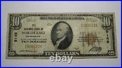 $10 1929 North East Pennsylvania PA National Currency Bank Note Bill #9149 FINE