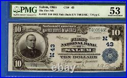 $10 First National Bank Salem Ohio Chapter 43 National Currency Pmg 53