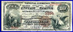 1882 $10 Bb The American Exchange Nb Of New York City, Ny Ch. #1394