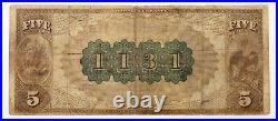 1882 $5 Fr #467 National Currency Merchants NB Ch #1131 Graded by PMG as Fine 15