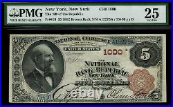 1882 $5 National New York, NY Brown Back FR. 469 Charter 1000 PMG 25