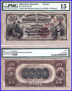 1882 BB $20 The Wisconsin National Bank of Milwaukee. Fr. 499 CH#4817. PMG CH F15
