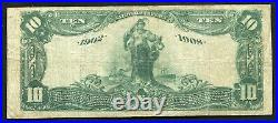 1902 $10 Db The 4th National Bank Of Nashville, Tn National Currency Ch. #1669
