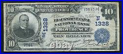 1902 $10 Db The Blackstone Canal Nb Providence, Ri National Currency Ch. #1328