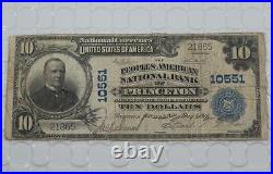 1902 $10 Peoples American National Bank Note 10551 Princeton Indiana P0048