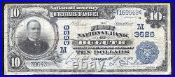 1902 $10 The First National Bank Of Duluth, Mn National Currency Ch. #3626