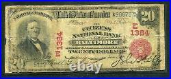 1902 $20 The Citizens National Bank Of Baltimore, MD National Currency Ch #1384