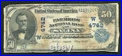 1902 $50 Db The Farmers National Bank Of Salina, Ks National Currency Ch. #4742