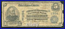 1902 $5 American Exchange Nb Of New York City, Ny National Currency Ch. #1394
