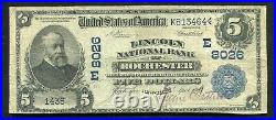 1902 $5 Db Lincoln National Bank Of Rochester, Ny National Currency Ch. #8026