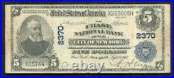 1902 $5 The Chase Nb Of The City Of New York, Ny National Currency Ch. #2370 Vf