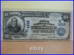 1902 National Bank Note $10 THE FIRST NATIONAL BANK OF CASSOPOLIS, MI #1812
