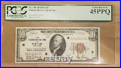 1929 $10 Federal Reserve Bank Note New York FRBN FR 1860-B PCGS EXTRA FINE 45 EF