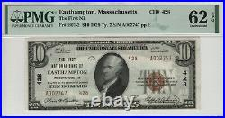 1929 $10 First National Banknote Currency Easthampton Massachusetts Pmg 62 Epq