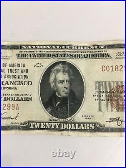 1929 $20 Dollar National Currency Note #13044 Brown Seal San Francisco, CA