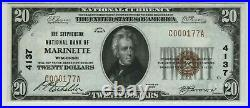 1929 $20 Stephenson National Banknote Currency Marinette Wisconsin PMG 64