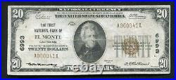 1929 $20 The First National Bank Of El Monte, Ca National Currency Ch. #6993