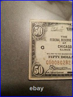 1929 $50 National Bank Note Of Chicago Illinois United States Currency