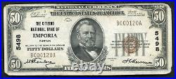 1929 $50 The Citizens National Bank Of Emporia, Ks National Currency Ch. #5498
