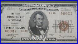 1929 Five Dollar CH# 4930 NORMAL IL NATIONAL BANK NOTE EXTRA FINE TY2 $5 Bill
