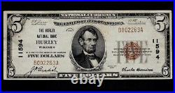 1929 Hurley Wisconsin $5 National Banknote Charter 11594 XFAl CaponeGangsters