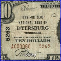 1929 T2 $10 First Citizens National Banknote Dyersburg Tennessee Circ Very Fine