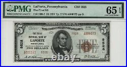 1929 T2 $5 First National Banknote Currency Laporte Pennsylvania Pmg Gem 65 Epq