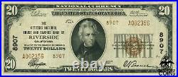1929 United States $20 Riverside, CA National Currency Note CH#8907