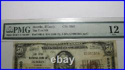 $50 1929 Herrin Illinois IL National Currency Bank Note Bill Ch. #5303 F12 PMG