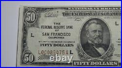 $50 1929 San Francisco CA Federal Reserve National Currency Bank Note Bill VF+