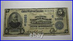 $5 1902 Jacksonville Florida FL National Currency Bank Note Bill! Ch. #6888 Fine