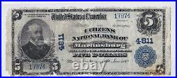 $5 1902 PB Citizens National MARTINSBURG West Virginia WV Extremely Rare 6 Known