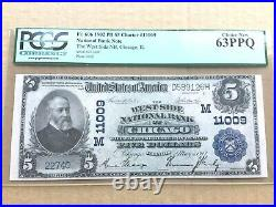 $5 1902 PB West Side National Bank Chicago Fr. 606 PCGS 63PPQ Choice New