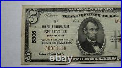 $5 1929 Belleville Pennsylvania PA National Currency Bank Note Bill! #5306 VF++
