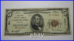 $5 1929 Cumberland Maryland MD National Currency Bank Note Bill Ch. #381 FINE