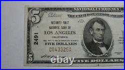 $5 1929 Los Angeles California CA National Currency Bank Note Bill Ch. #2491 VF+