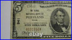 $5 1929 Portland Maine ME National Currency Bank Note Bill Ch. #941 VF