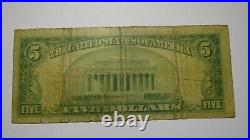 $5 1929 Soldiers Grove Wisconsin WI National Currency Bank Note Bill Ch. #13308