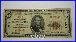 $5 1929 South Amboy New Jersey NJ National Currency Bank Note Bill Ch. #3878