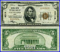 Cleveland OH-Ohio $5 1929 T-1 National Bank Note Ch #4318 Central United NB VF