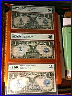 Lot of Three Consecutive 1899 $1 Silver Certificates PMG 25 Fr226 us paper money