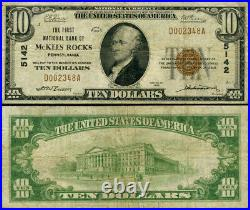 McKees Rocks PA-Pennsylvania $10 1929 T-1 National Bank Note Ch #5142 FNB Fine