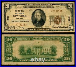 New York NY $20 1929 T-1 National Bank Note Ch #1461 National City Bank VF
